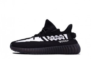 "Best Off-White® x Adidas Yeezy Boost 350 V2 ""Black""【High Quality】"